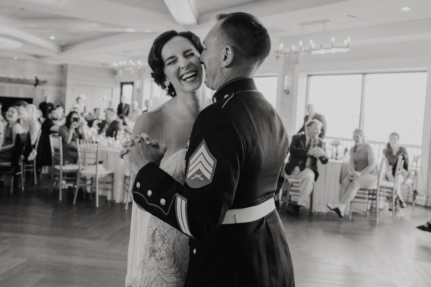 Bride and groom share their first dance at Oceanview of Nahant wedding