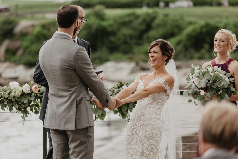 Wedding ceremony at Portland Head Lighthouse, Maine