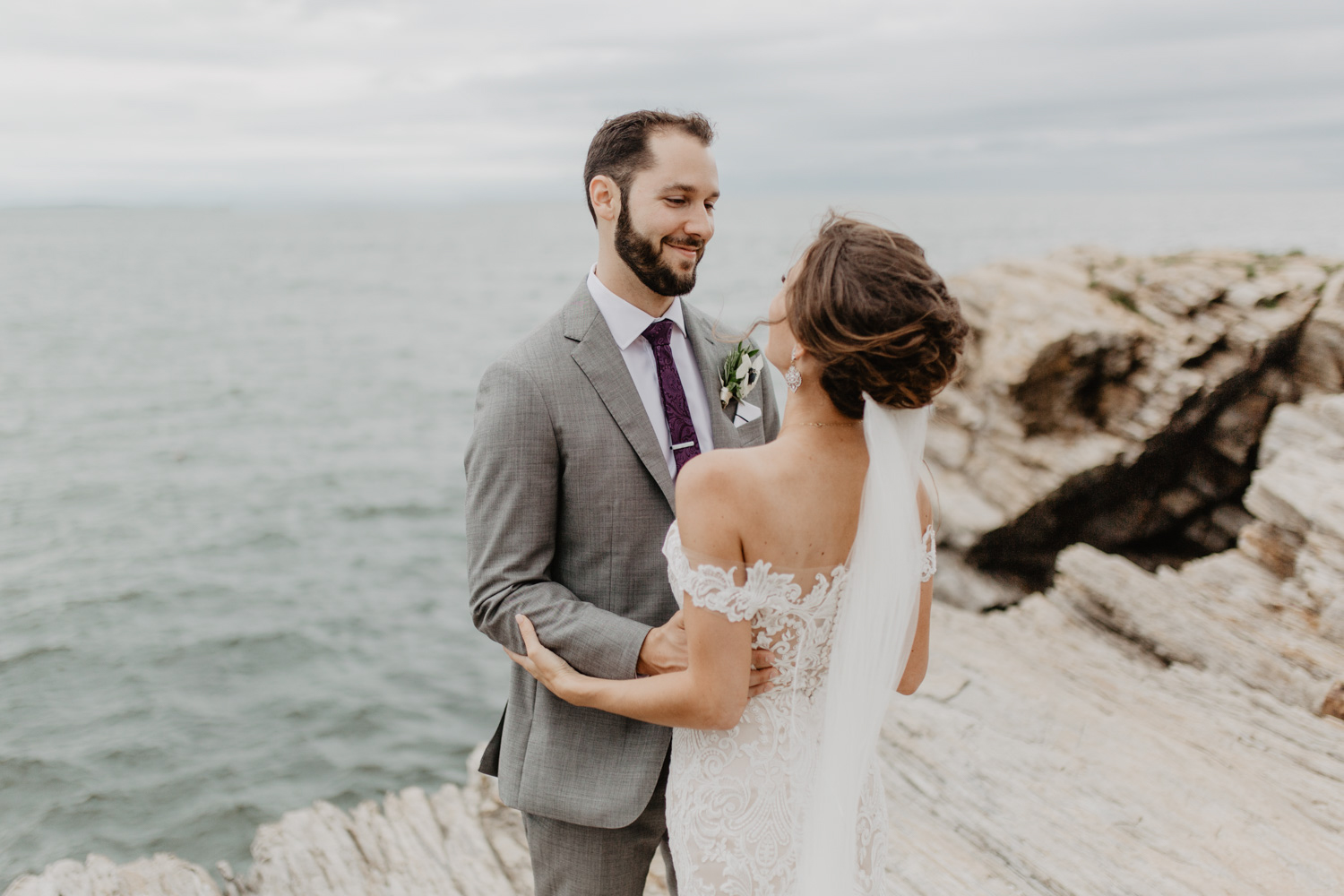 Bride and groom at Portland Head Lighthouse