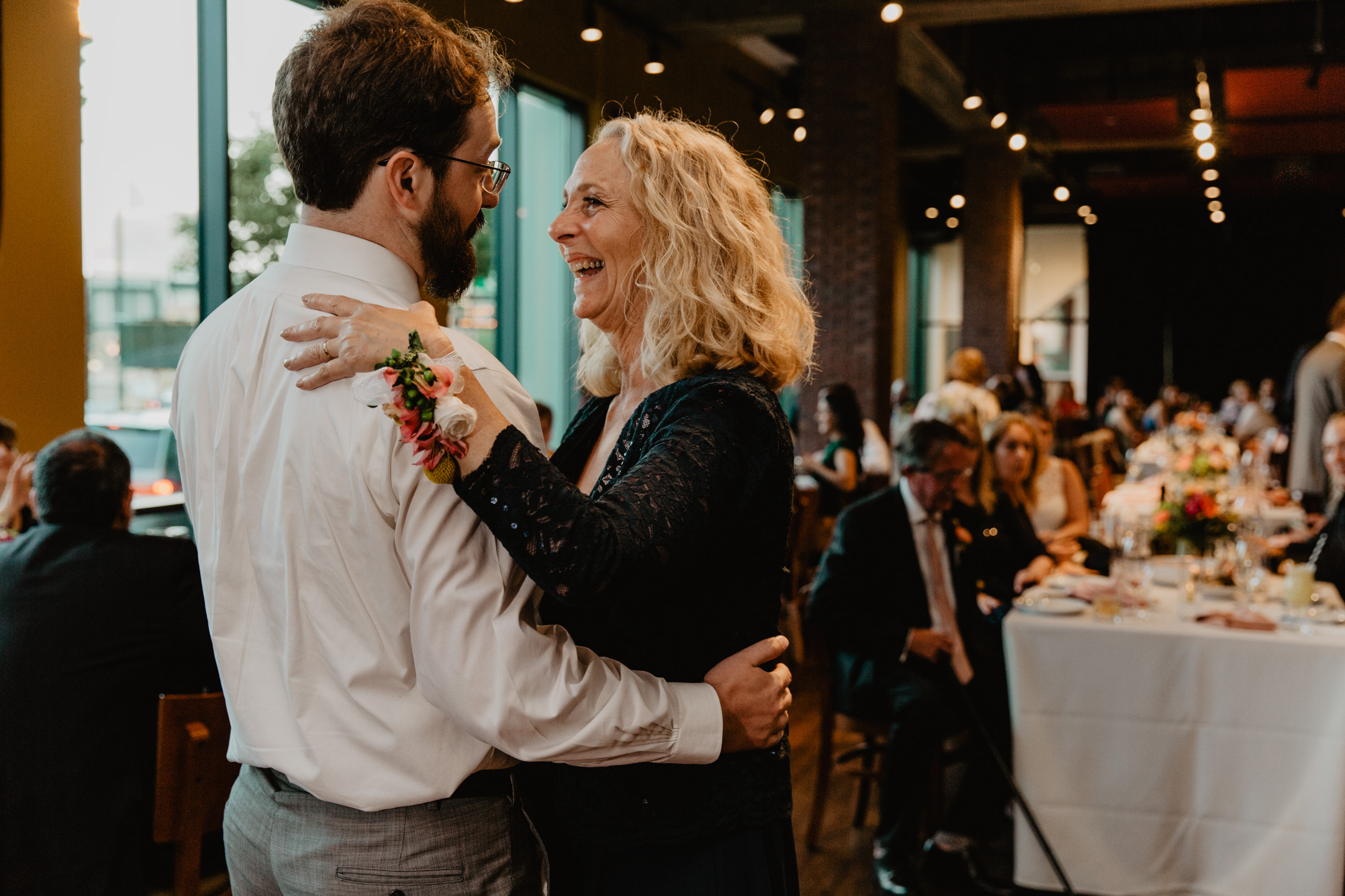 Groom and his mom dance at City Winery Boston wedding