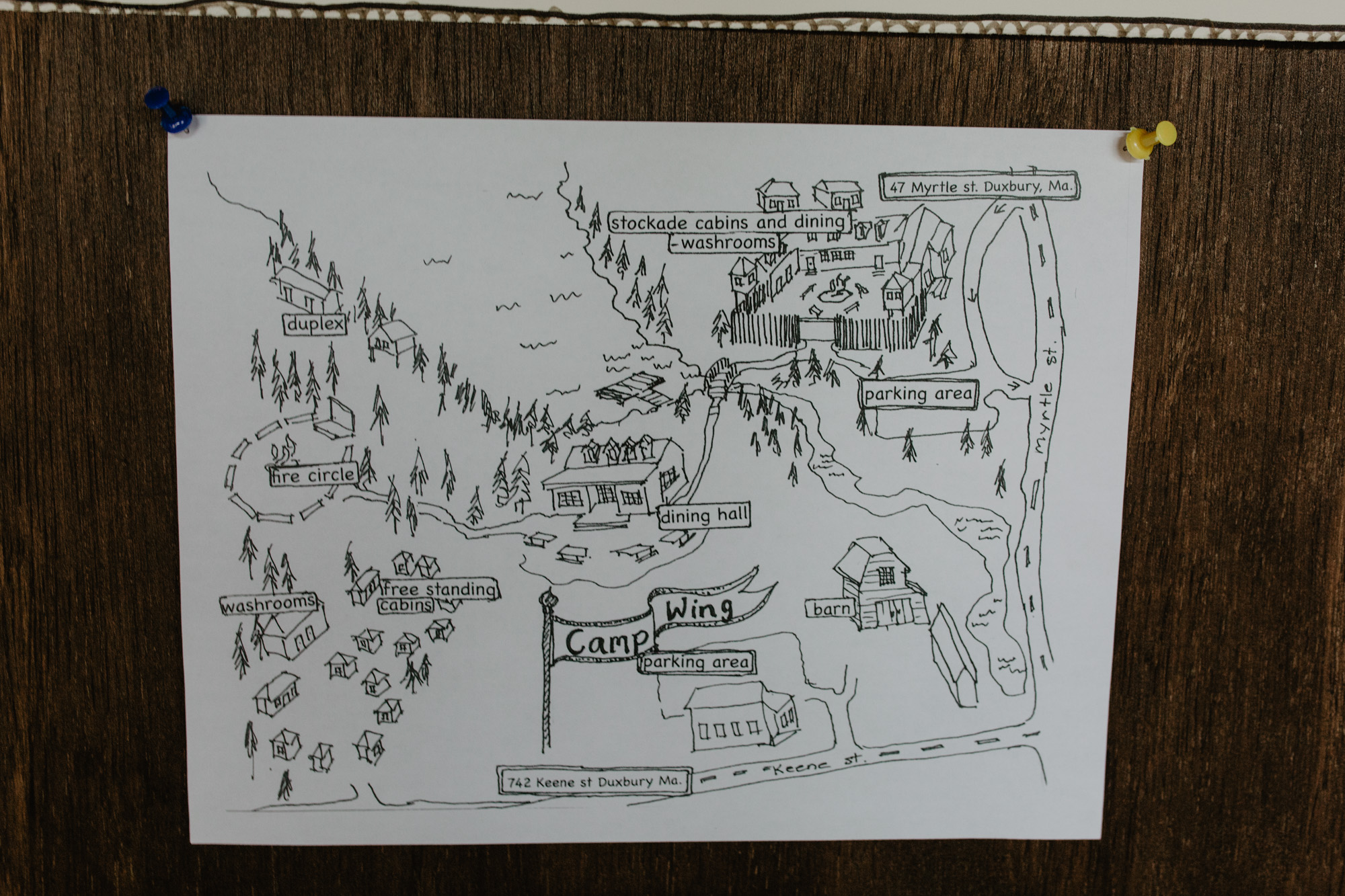 A map of Camp Wing in Duxbury MA