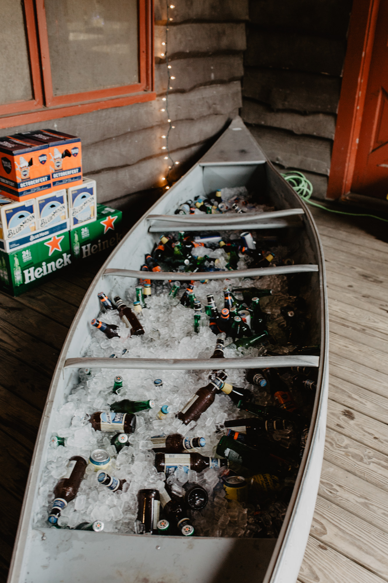 A canoe serves as a drink cooler