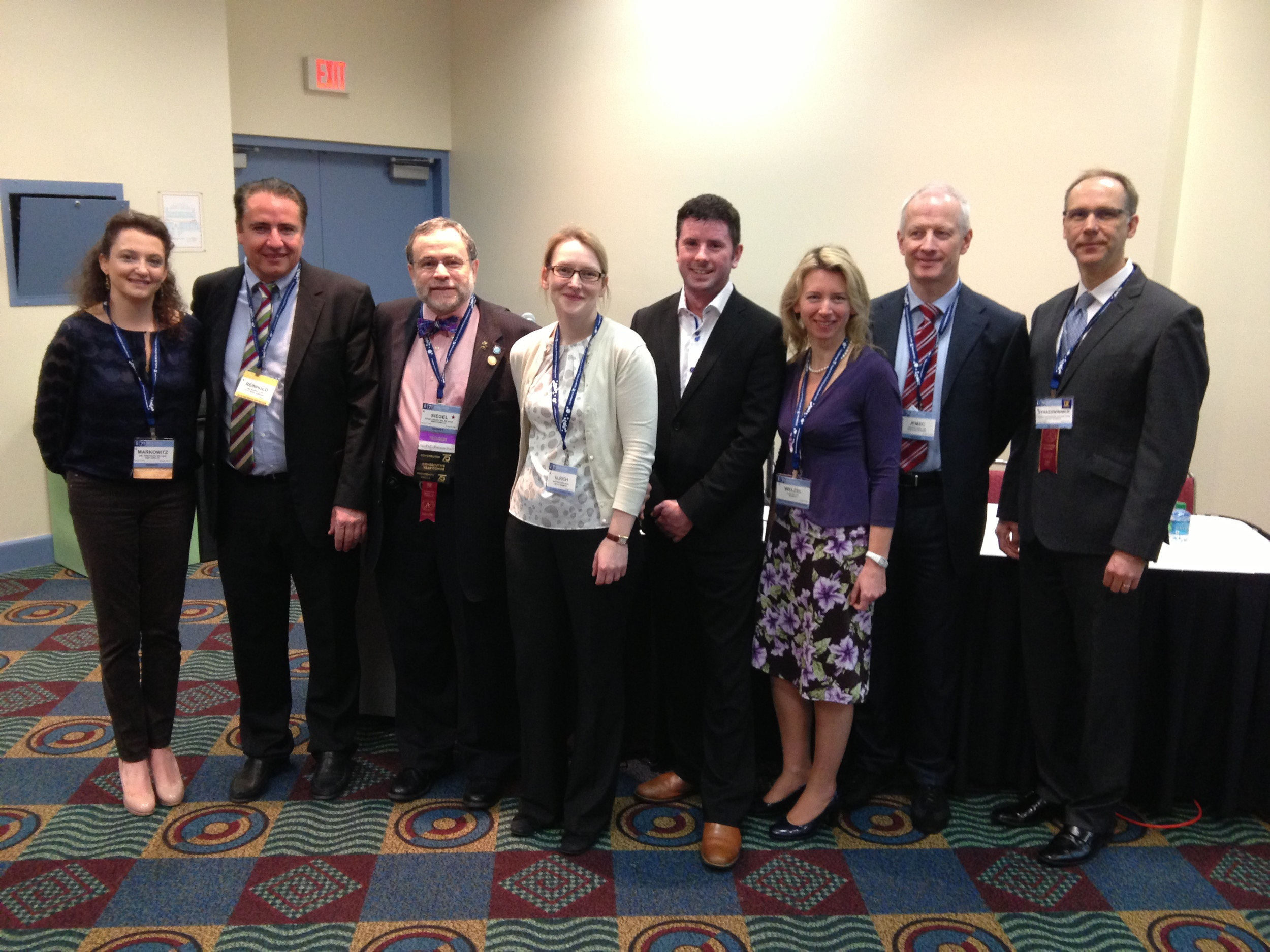 Founding Members of the OCT Working Group at the 2013 AAD Annual Meeting in Miami. Left to right: Dr. Markowitz, Prof. Reinhold, Dr. Siegel, Dr. Ulrich, Dr. McKenzie, Prof. Welzel, Prof. Jemec, Dr. Strasswimmer