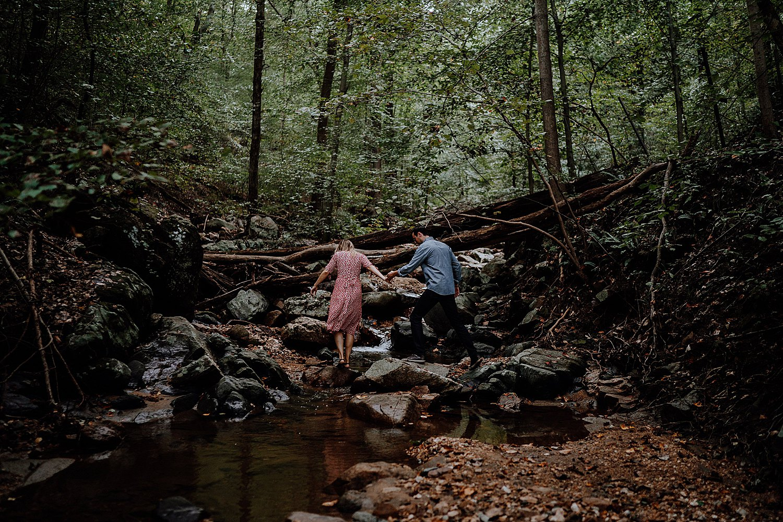 woodsy engagement photos taken in Patapsco Valley State Park