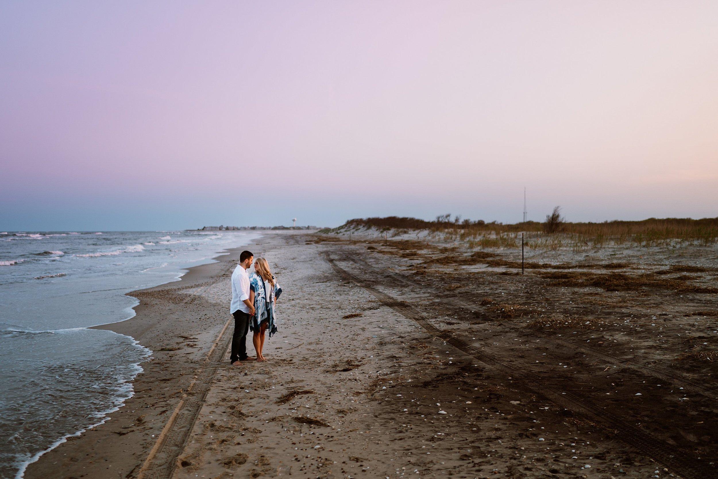 beach ocean city engagement photo