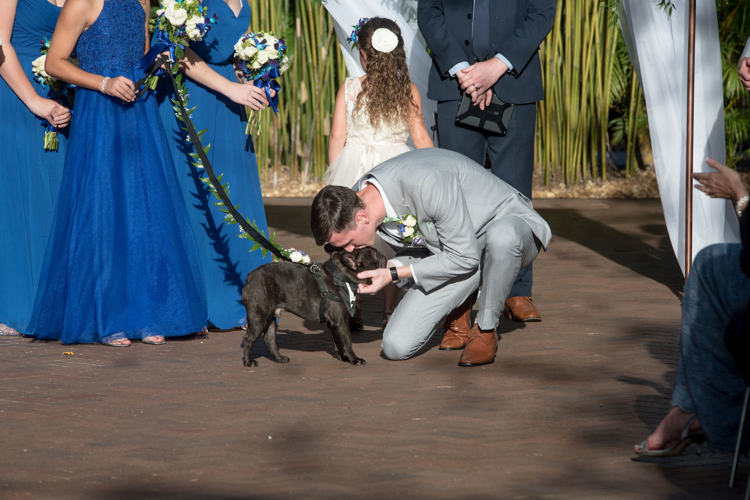 groom-kisses-dog-at-end-of-aisle