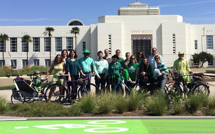 St. Patrick's Day green bike lanes