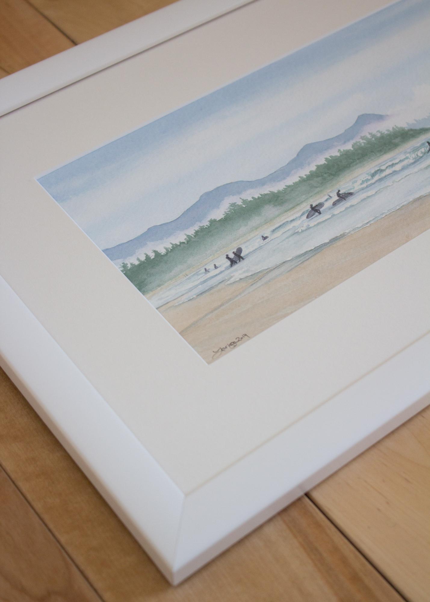 Surfers At Incinerator Rock - Custom Frame Detail