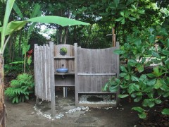 each elevated tent has its own outdoor shower with plenty of hot water
