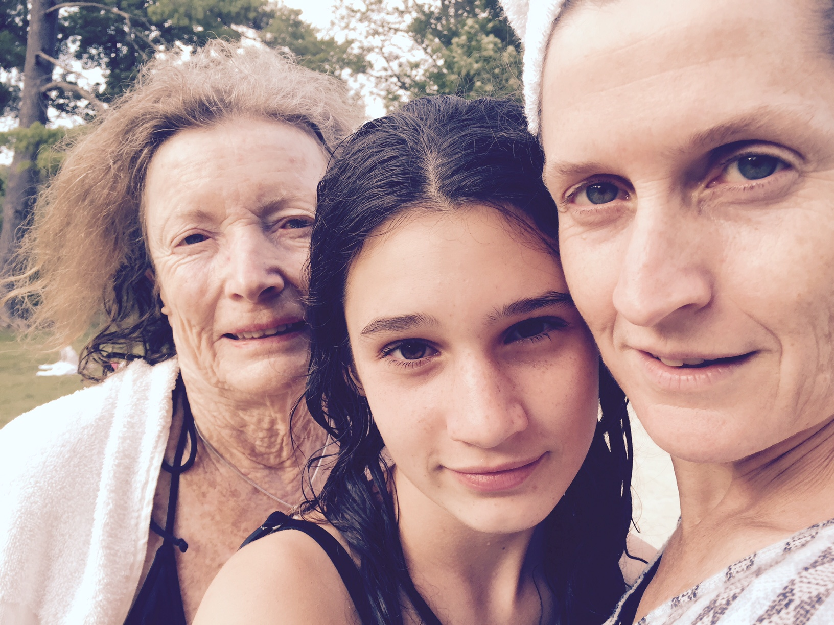 I often bring the whole family. Here is Mom, Lui (my daugher), and me. Miko (my son) is in the lake. xo