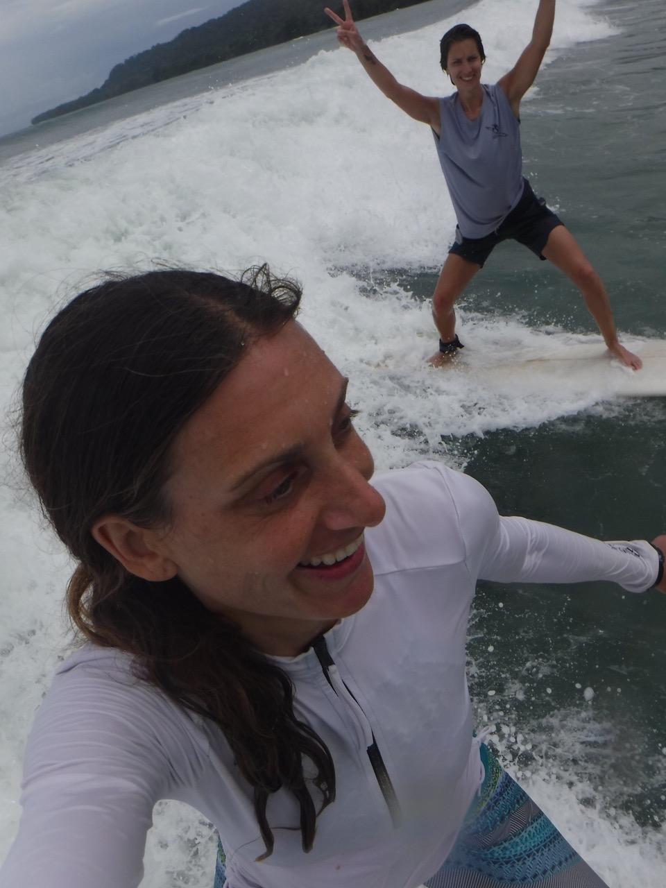 Lauren catching a wave