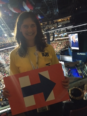 "Of course, they handed out the ""H"" signs. I wonder if they had some bernie signs stashed away just in case?"