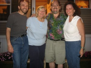 "Mike Cohen, Barb Wagner, Steve Delia, Missy Grotz of the ""Round Robin"" Poets at Milk Boy Coffee in Bryn Mawr"