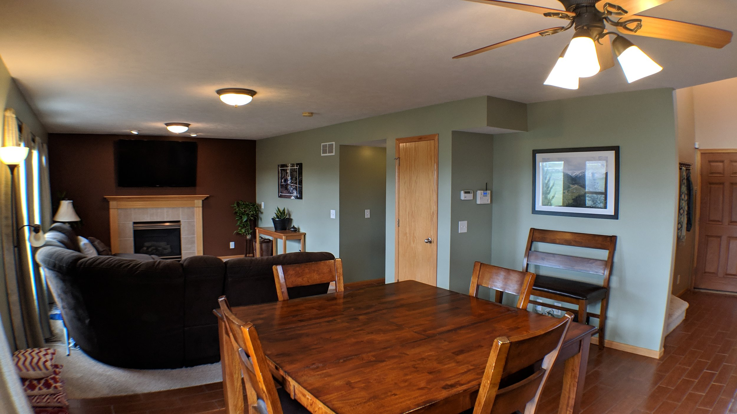 Open floor plan from kitchen through dining to family room.