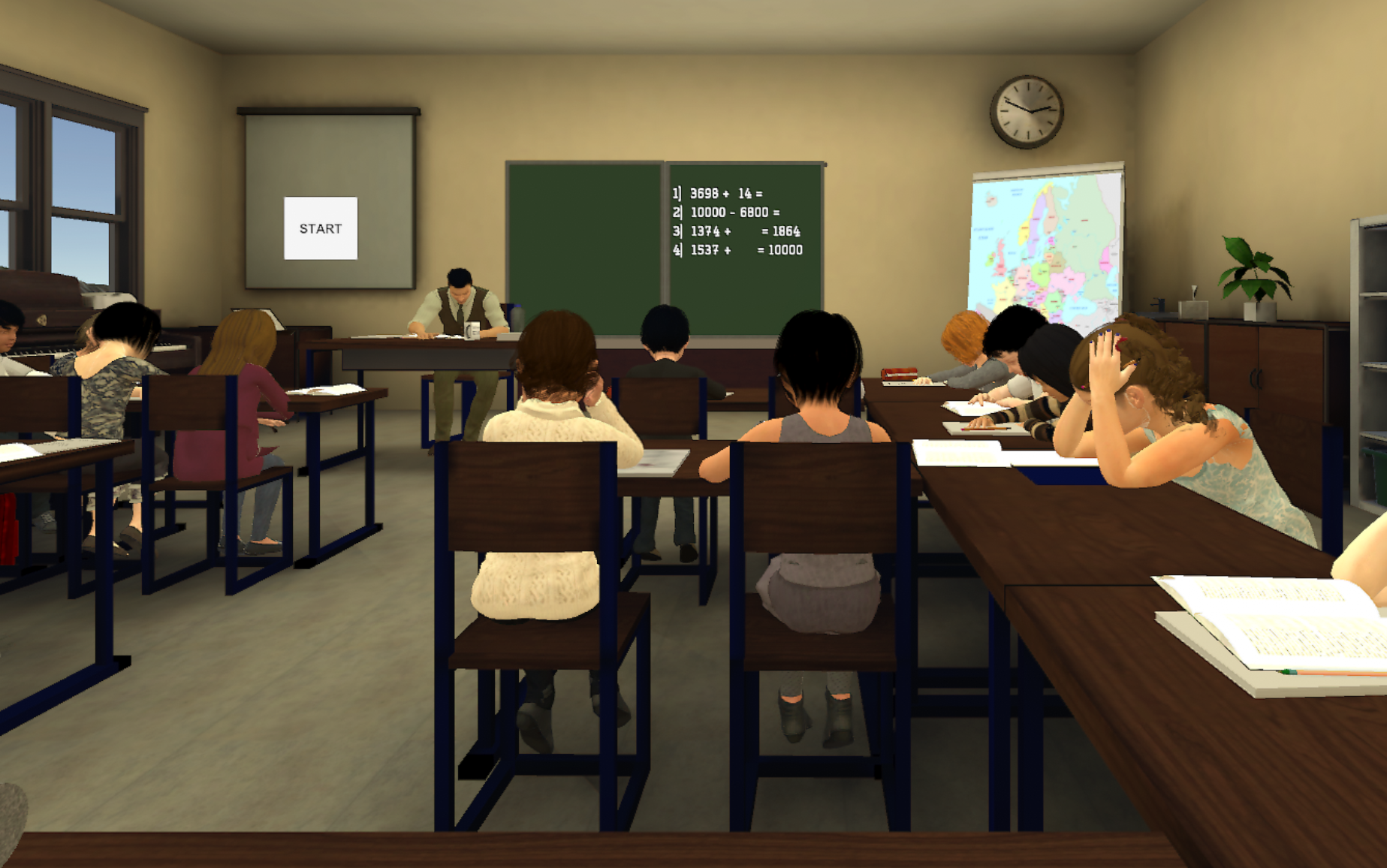 First-person immersive classroom environment to assess and train attention.