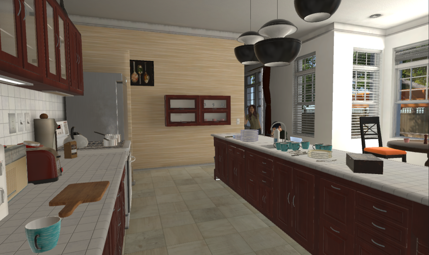 Interacting with virtual characters in an immersive kitchen scenario.