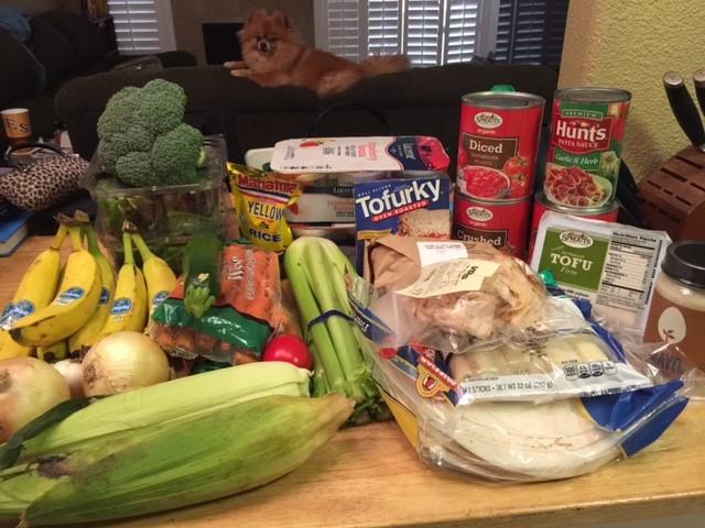 Matt and Gwen's groceries the week of the challenge.