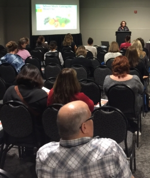 """Our School Meals Program Director Robin McNulty, MPH presents """"Getting the Word Out: Marketing Your School Meals Program"""" at the Annual California School Nutrition Association Conference on November 6."""
