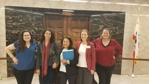 Members of the Hunger Advocacy Network between meetings with San Diego representatives at the State Capitol.