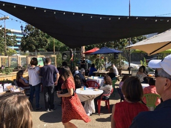 San Diego Hunger Coalition Executive Director Anahid Brakke addresses guests at the 2017 Hunger Free Fest