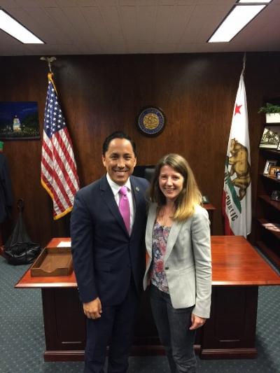 California Assemblymember Todd Gloria with San Diego Hunger Coalition Senior Director of CalFresh and Advocacy Amanda Schultz Brochu.