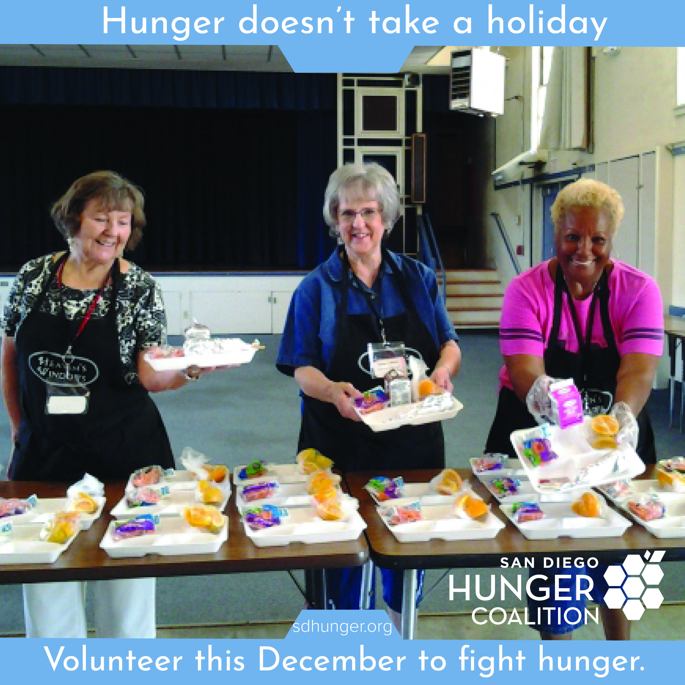 Volunteer during the holidays! - Donating your time can be just as valuable as donating your treasure. If you're looking to volunteer this holidays season, HandsOn San Diego has a great list of volunteer opportunities in the San Diego region.