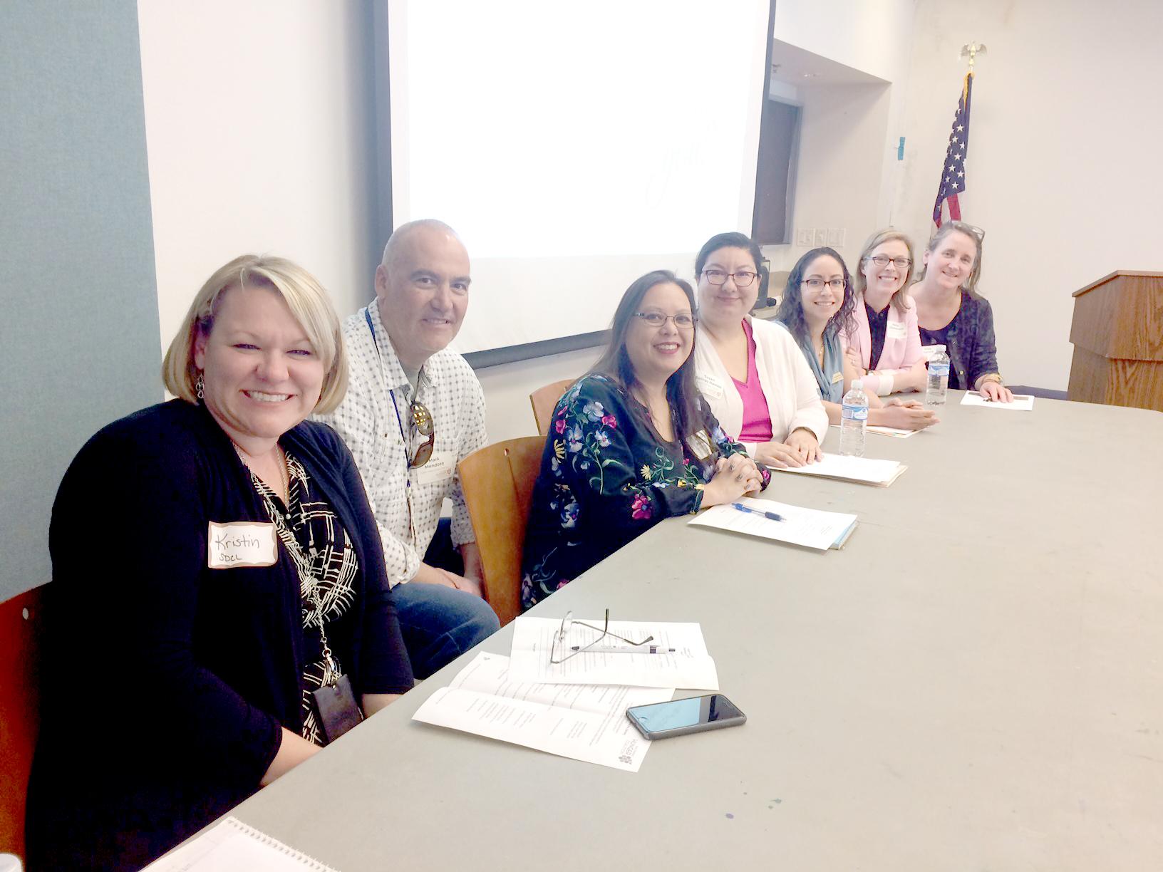 Central Panel (Front to Back) Kristin Ward, Mark Mendoza, Brenda Monzon, Susan Salinas Ramos, Vanessa Barnik, Patrice Chamberlain, Trish Garone