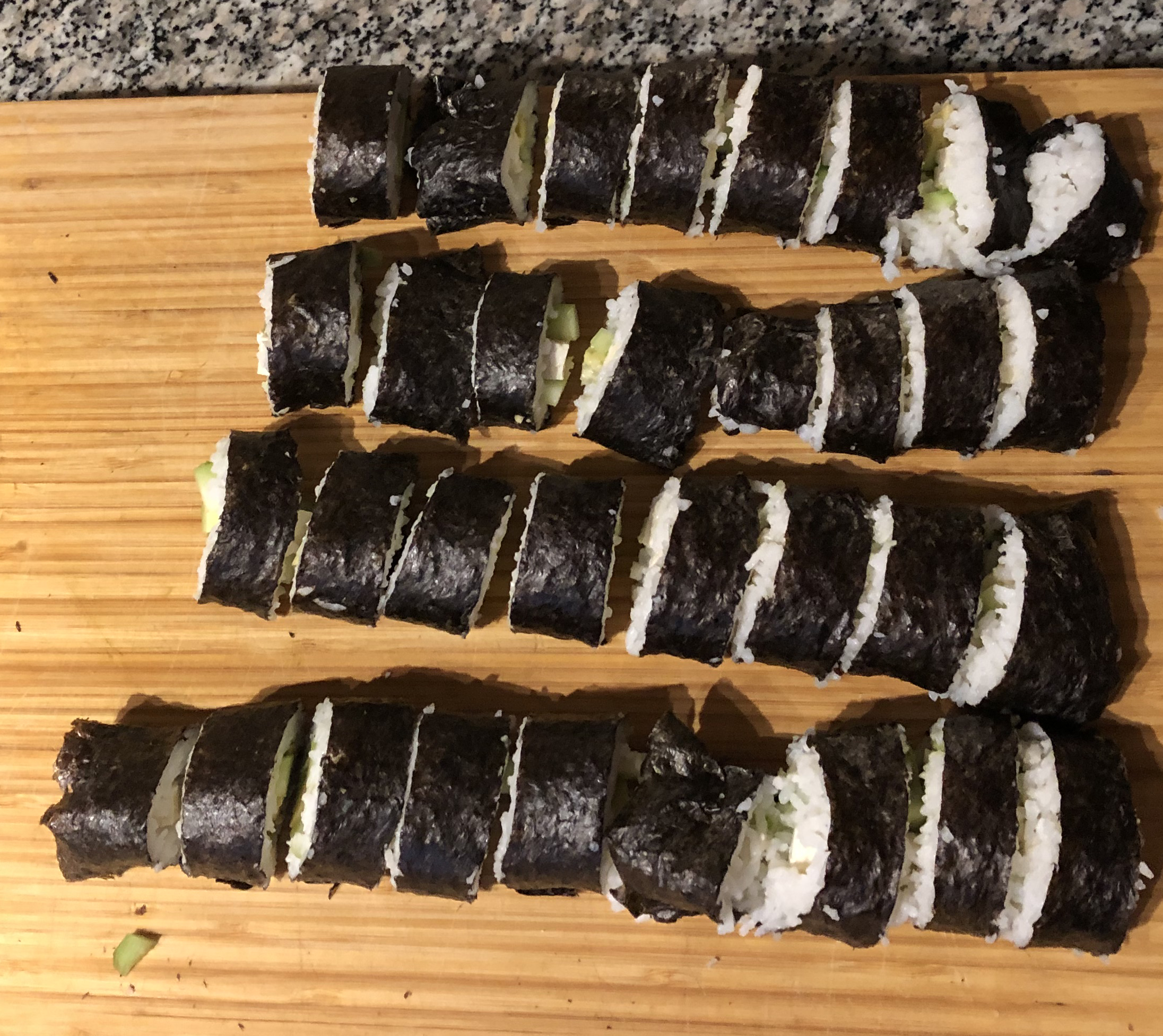 Dinner for Joe and his wife - cucumber nori rolls.