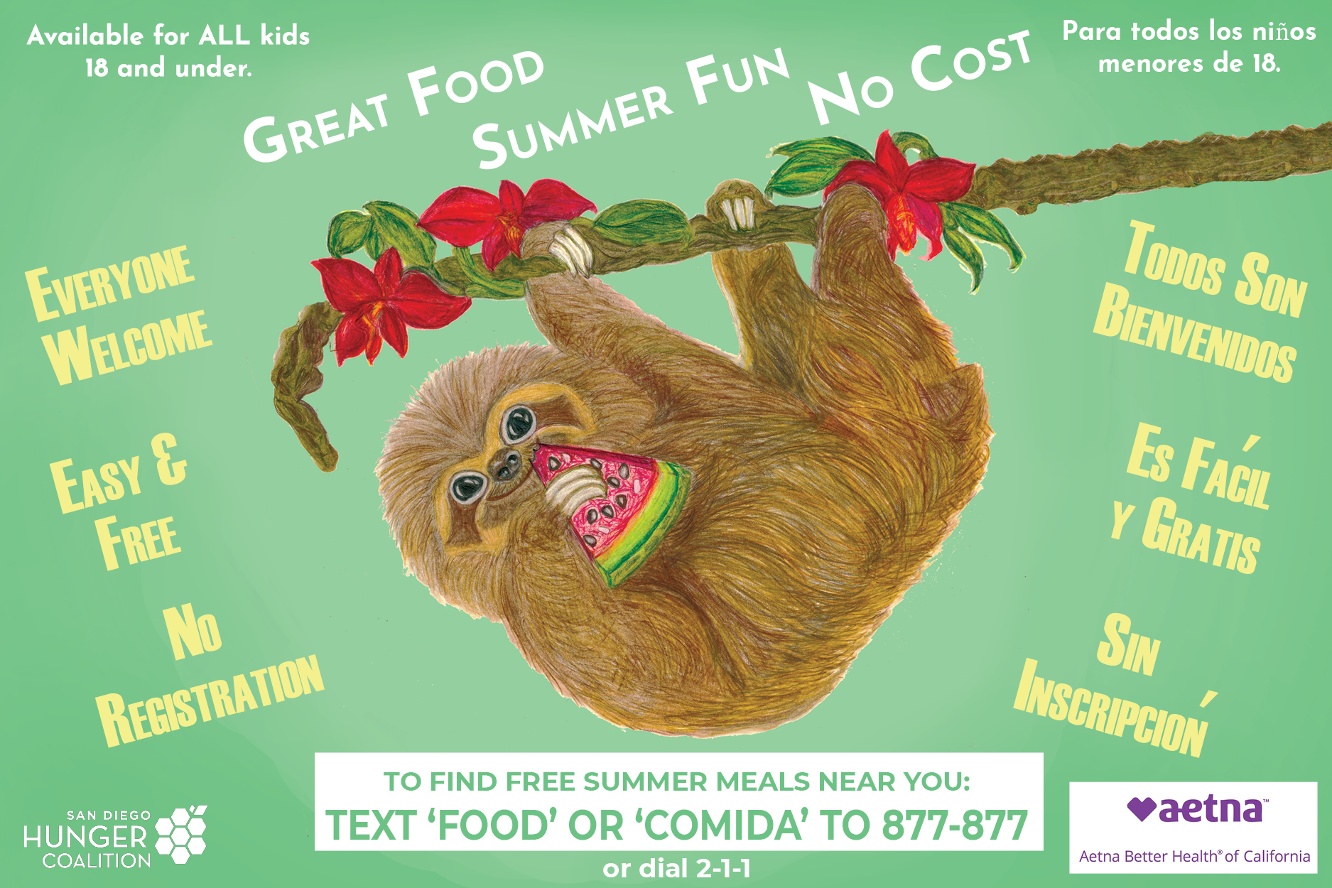 """Free Summer Meals Near You - Help us spread the word about free summer meals near you! You can text """"FOOD"""" or """"COMIDA"""" to 877-877 to find a meal site in your area.You can also download and share our posters to get the word out!"""