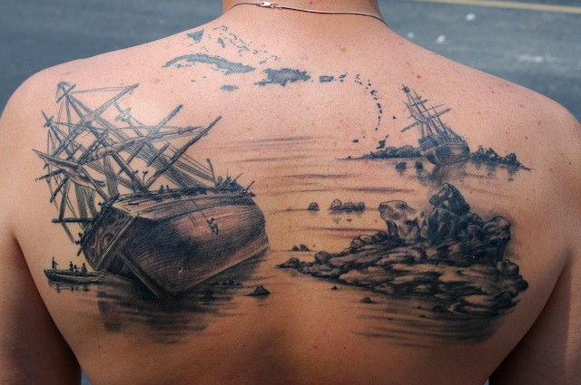 Shipwreck tattoo by Matthew Amey
