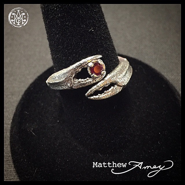 Sterling silver crab claw ring with a ruby