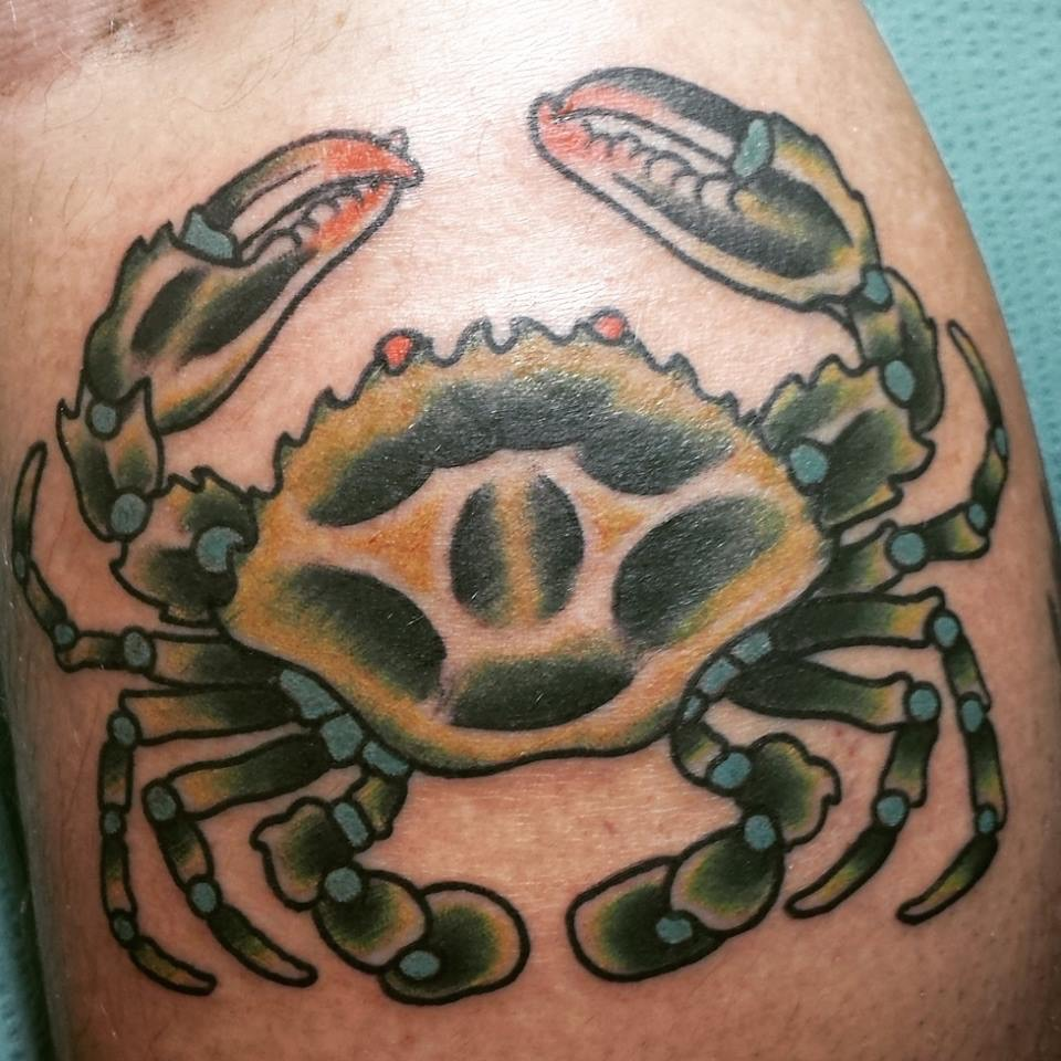 Crab tattoo by James Delzel