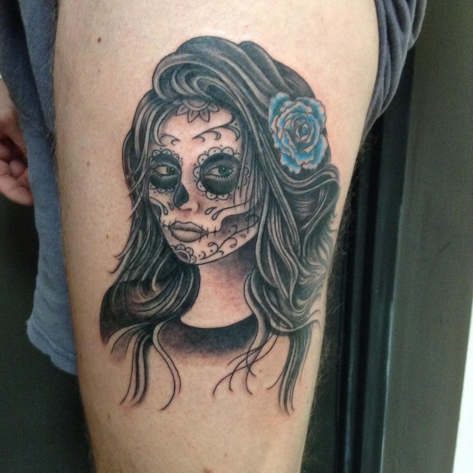 Tattoo Of The Week Sugar Skull Lady Independent Tattoo Dela Where