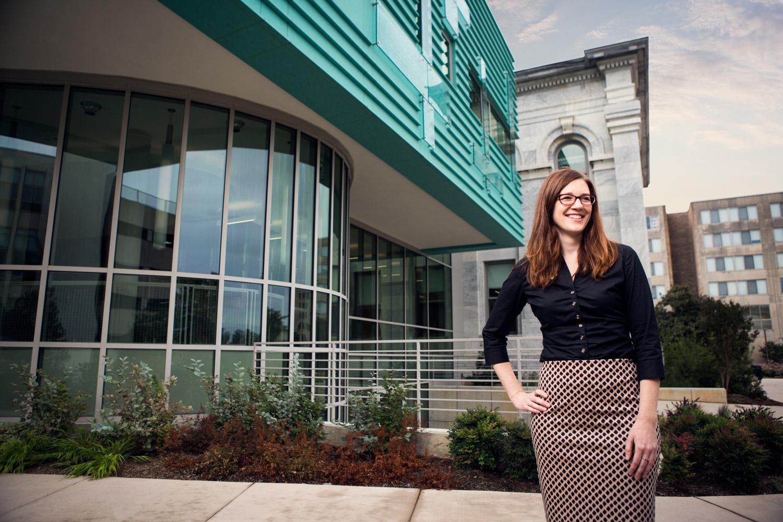Editorial portrait of Megan Zanella-Litke, Director of Sustainability Programs at American University in Washington DC