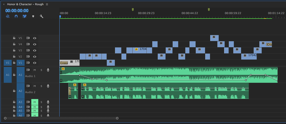 A view of the rough cut of Honor & Character. It looks chaotic because I've quickly been mixing and matching clips trying to find the right position. I don't move clips to one line until I get the next round of feedback.