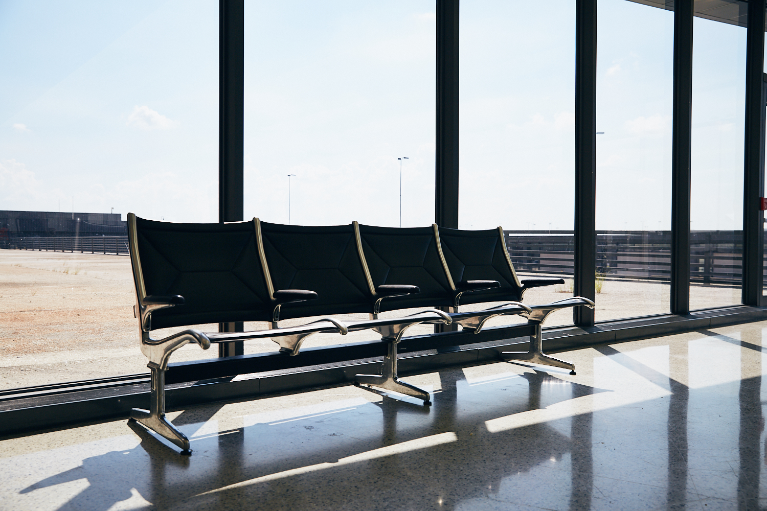 Quiet spot across from United Premier Ticketing on backside of terminal