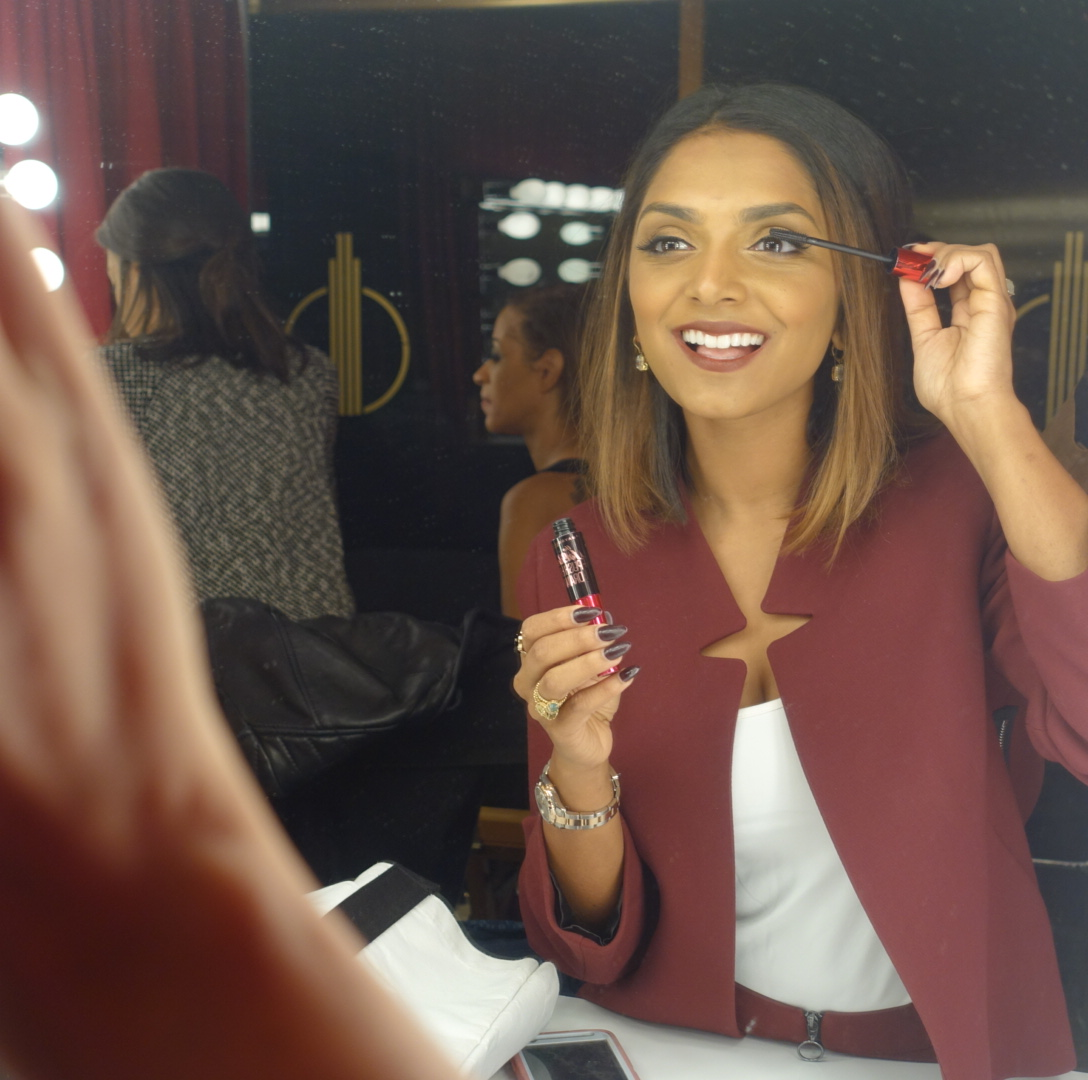 Backstage getting prepped with Maybelline's The Falsies Push Up Drama Mascara & feeling glam about it!