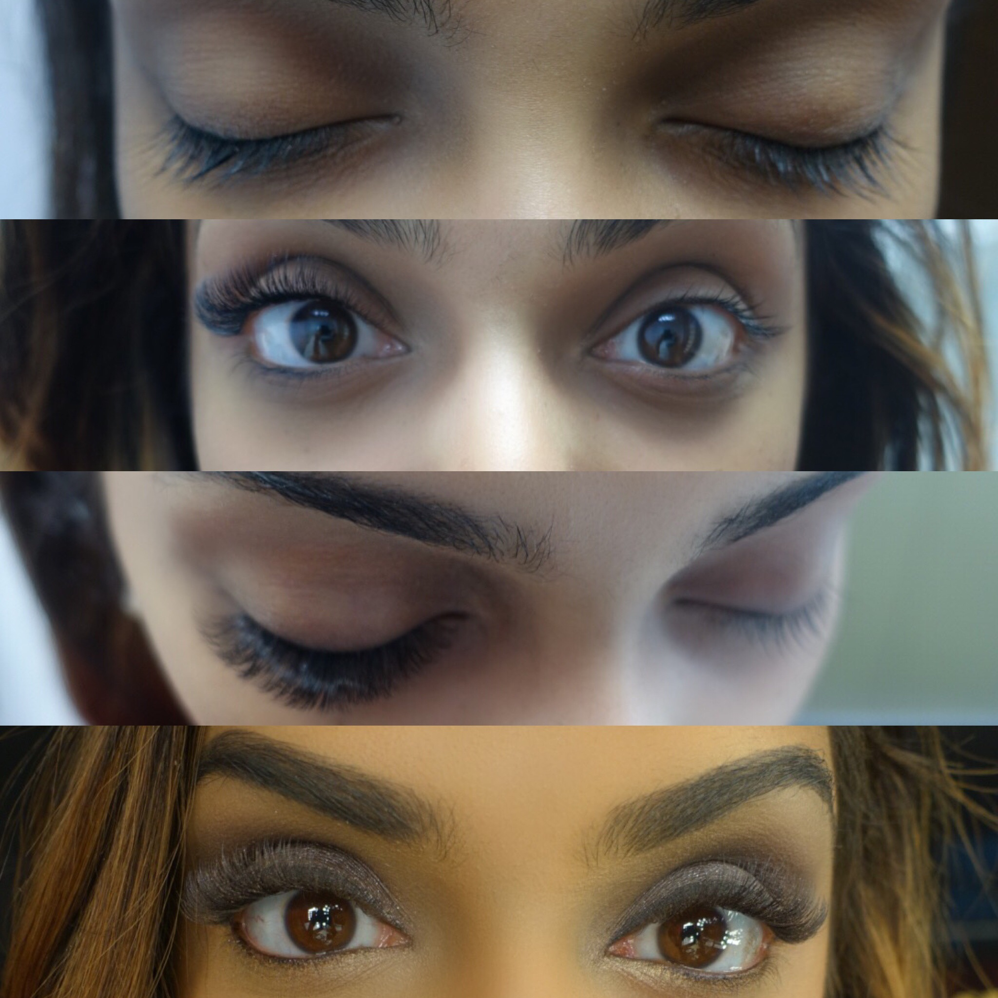 FROM TOP TO BOTTOM: 1) before extensions 2) one eye with extensions 3) view from above of one eye with extensions 4) final product