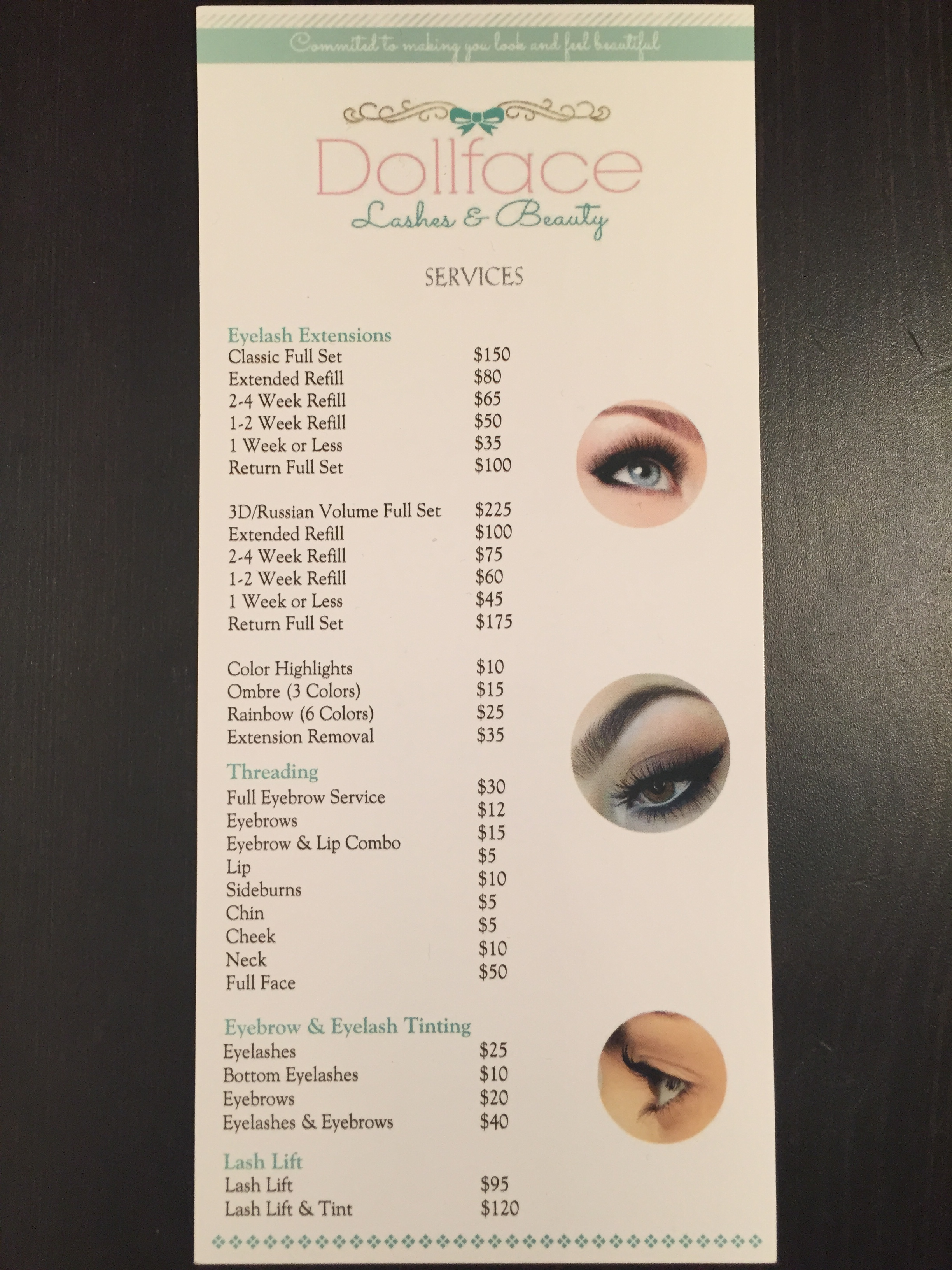 Dollface services pricing list!