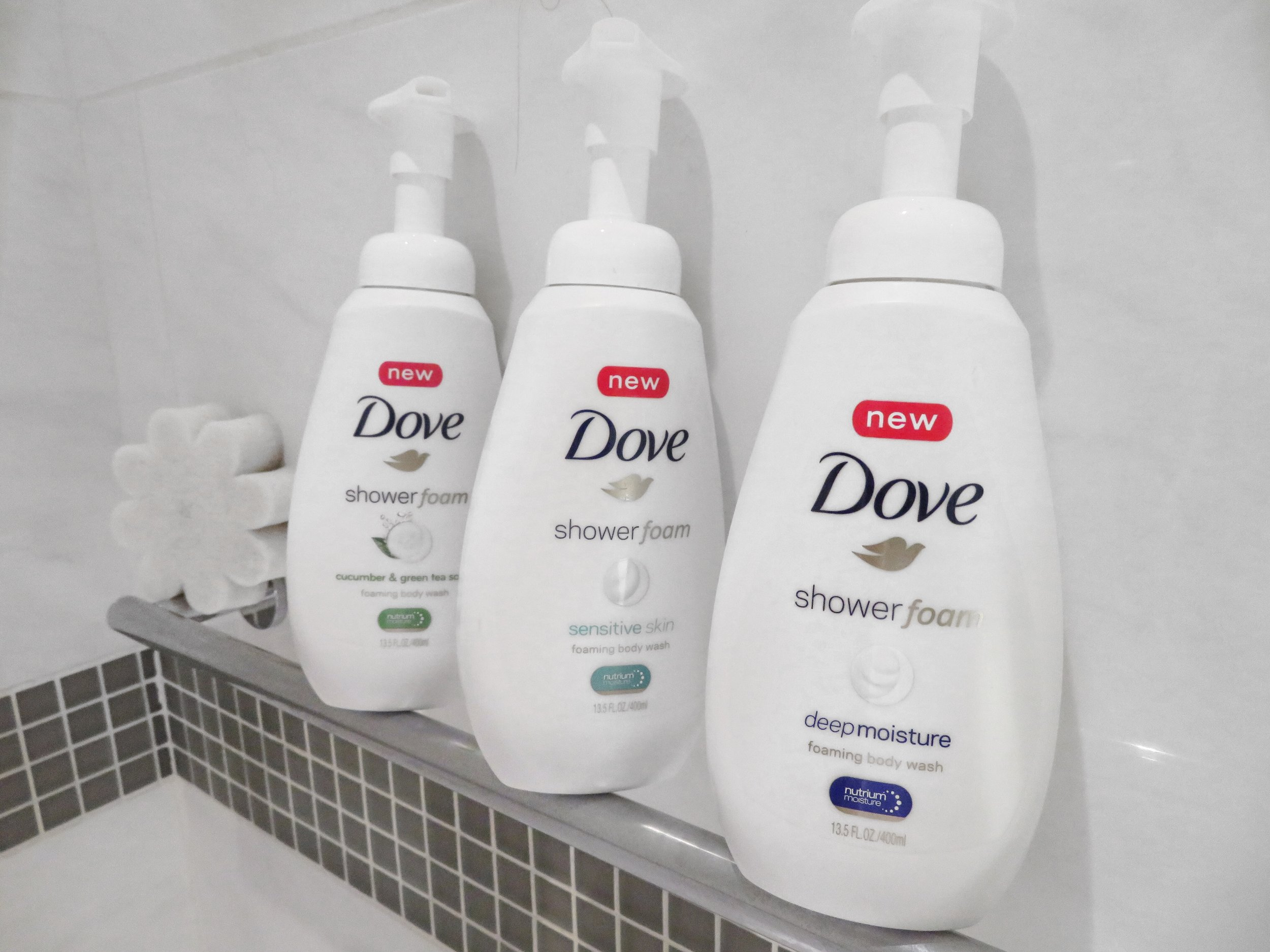 3 of the 4 new Dove Shower Foams! Deep Moisture is my current fav.