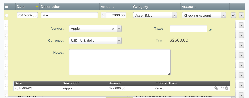 Double check your asset transaction in Wave Accounting to make sure the vendor and account are right.