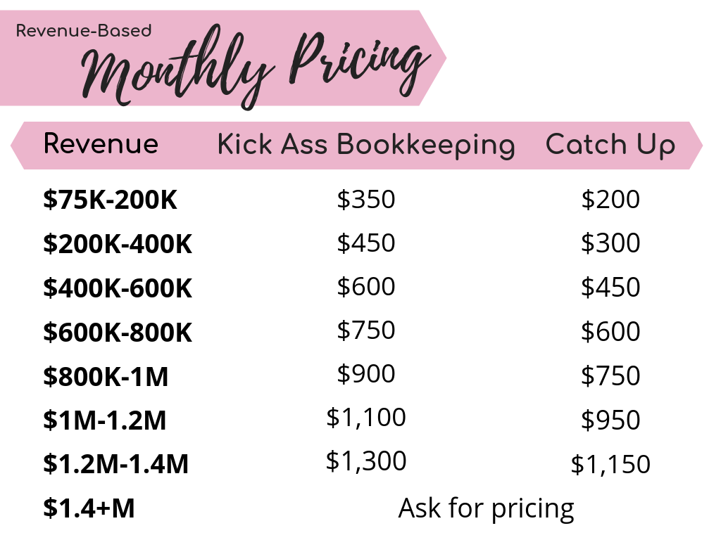 Kick Ass Bookkeeping Pricing