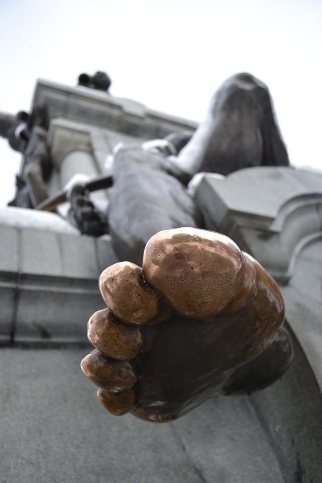 Kissing the toe of Magellan to ensure a safe journey across the Drake