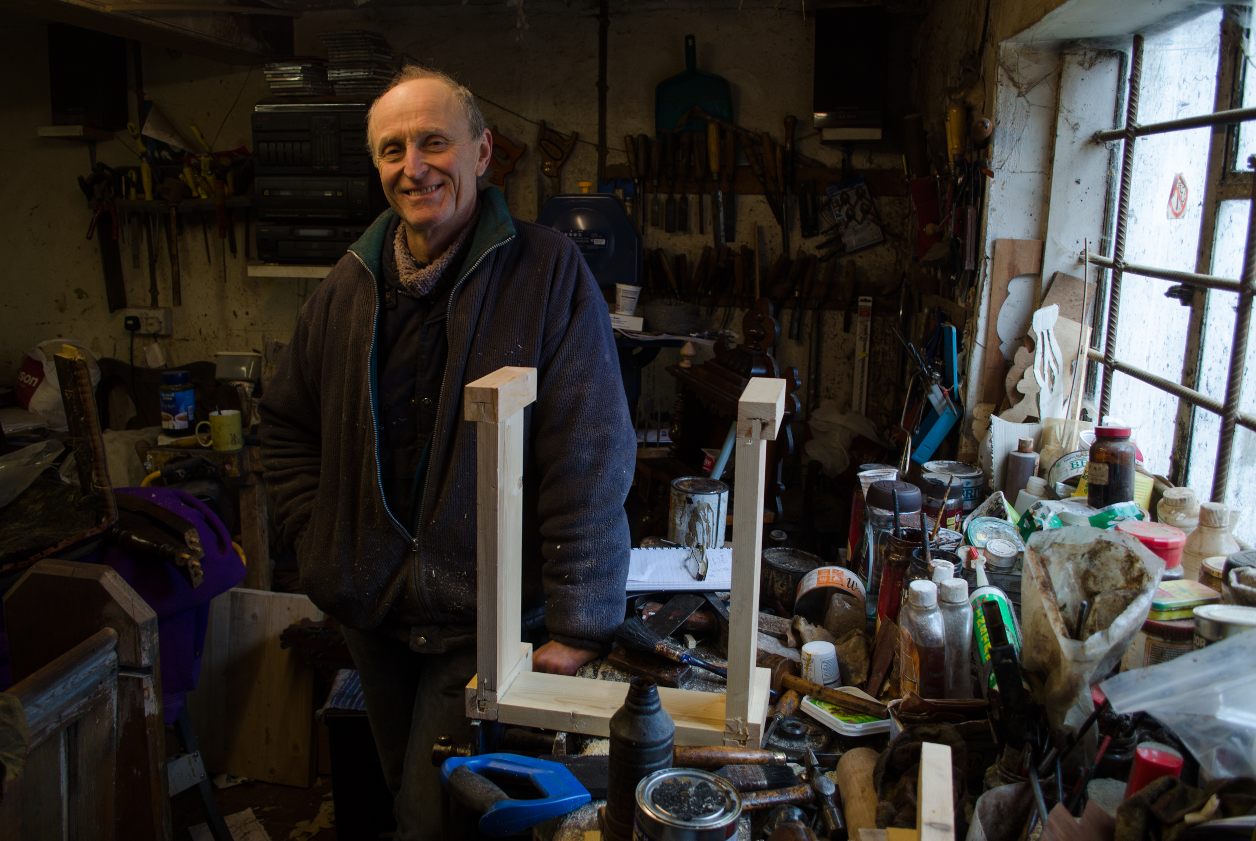Luke's Uncle Pete and his workshop.