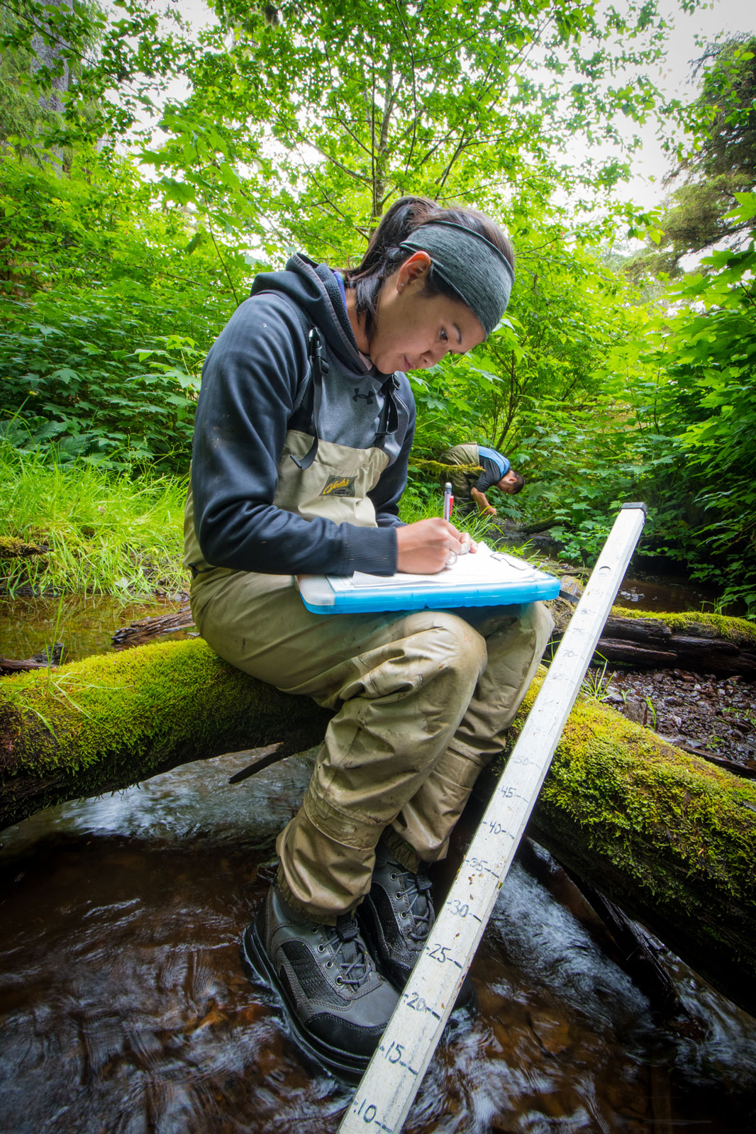 Melanie Kadake was the first high school mentee of Wendy Smythe under the Hydaburg Geoscience Education Program. Today, she is a scientist and the environmental planner for her local tribe. She spends summers monitoring the health of salmon subsistence streams for her home community of Hydaburg.