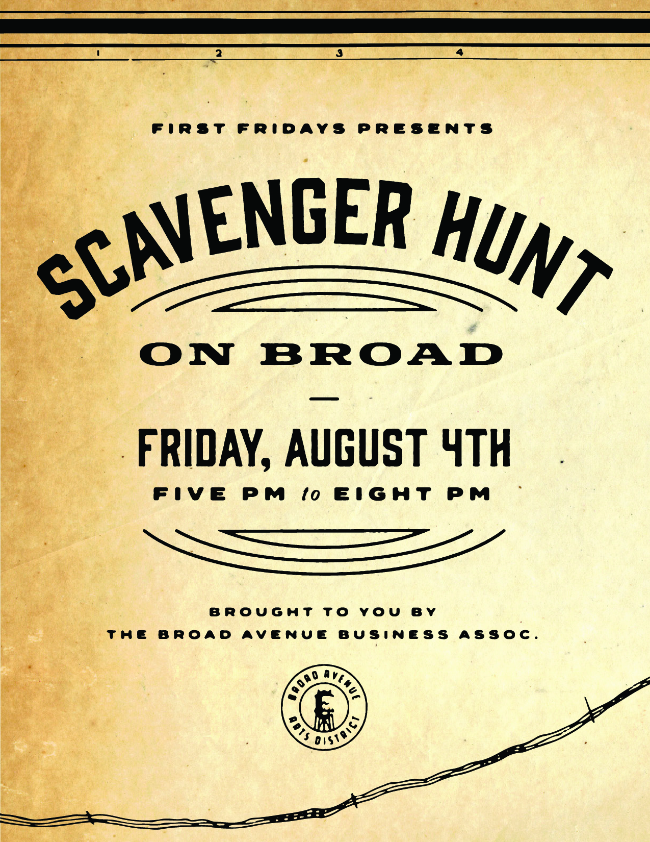 Come to Broad Avenue for some scavenger hunt fun!!  Grab a clue card at any participating shop.  Wiseacre Brewing Company   Falling Into Place   Merchants on Broad   T Clifton Art   Paggios Salon   Bingham & Broad   Pedaltown Bicycle Company   Mbabazi House of Style   Five in One Social Club   Muddy's Bake Shop   Found Memphis   When you complete the card, turn it back in (at any participating shop) for a chance to win pirzes from the shops of Broad Avenue!   Kebab Food Truck  will also be on the street.  As always, thanks to  Kitbash Brand Design  for the artwork!