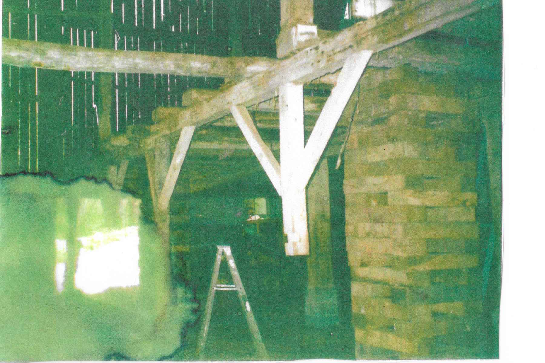 A view of both stories of the barn at Chanteclaire Farm prior to renovation