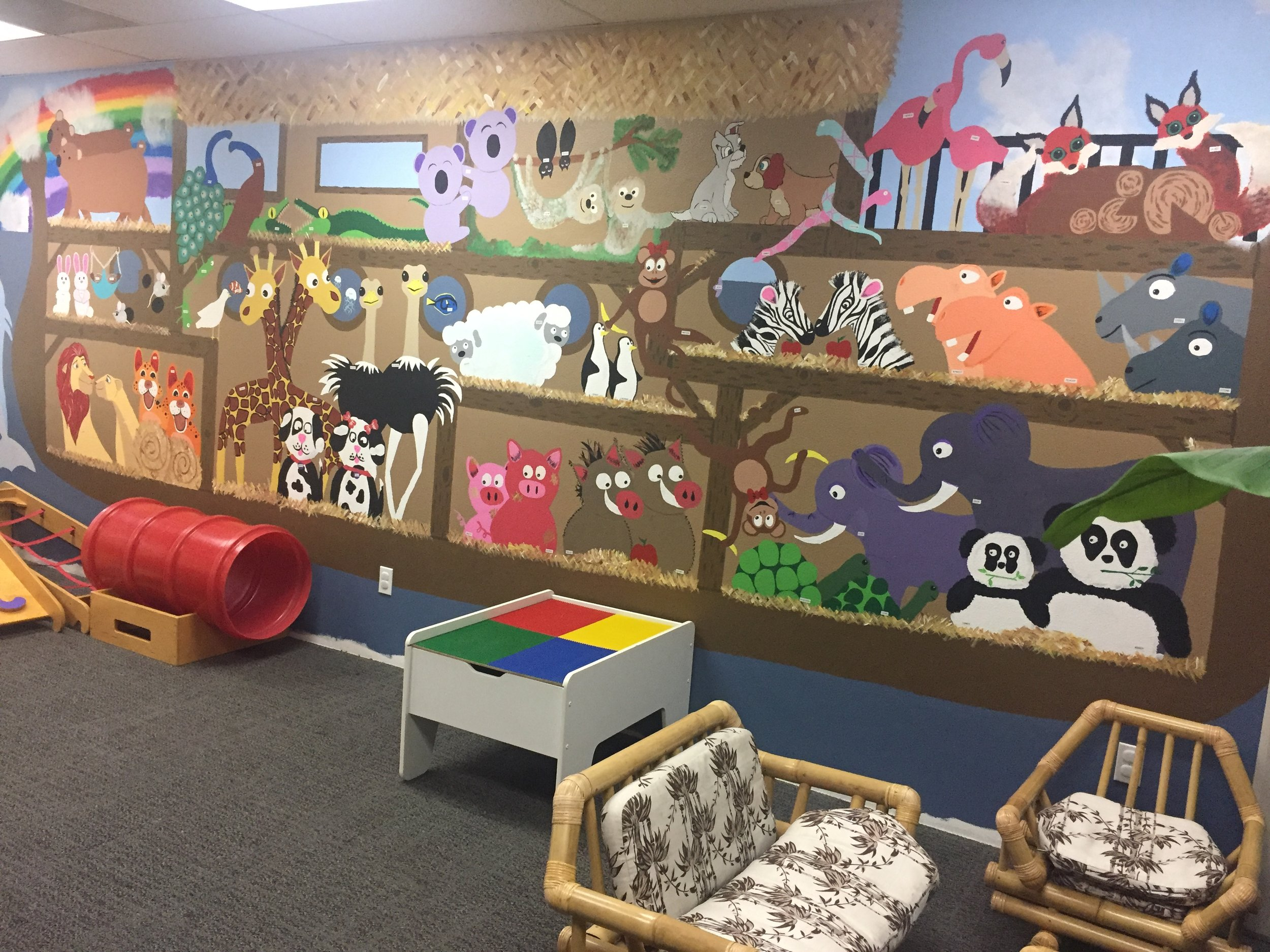 Noah's Ark Children's Center - This handprinted mural in the Kids Welcome Center brings the story of Noah's ark to life!