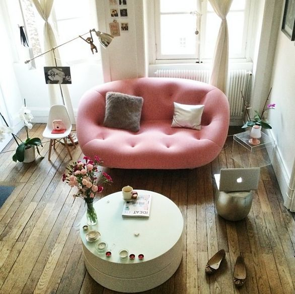 modern interior with pink couch