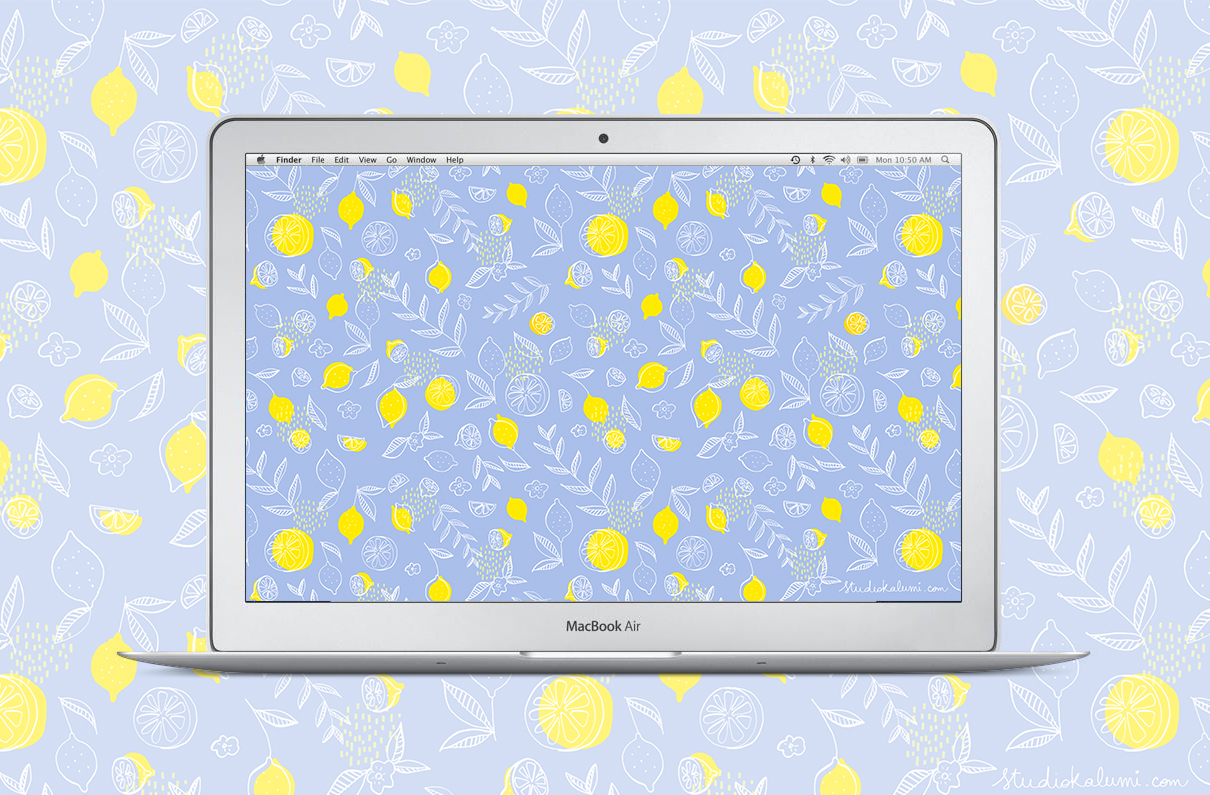 mauve lemons pattern + macbook